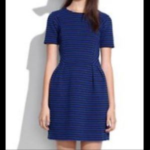 Madewell Black Blue Striped Dress Sz- 2